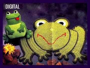 Digital Download PDF Vintage Crochet Pattern Frog Rug or Mat & Froglet Pillow Cushion