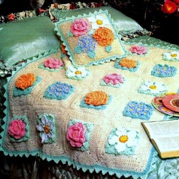 Digital Download PDF Vintage Crochet Pattern GRANDMOTHER'S FLOWER GARDEN AFGHAN