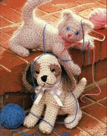 Digital Download PDF Vintage Crochet Pattern Kitten Cat & Puppy Dog Stuffed Soft Toy Animal Toys