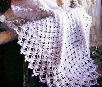 Digital Download PDF Vintage Crochet Pattern ​​​​​​​Lacy Diamonds Heirloom Baby Christening Shawl