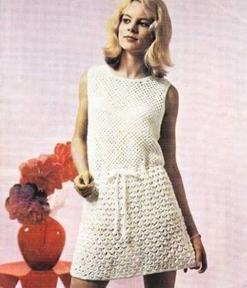 "Digital Download PDF Vintage Crochet Pattern Ladies Mod Sleeveless Hipster Mini Dress Bust 32-38"" DK"