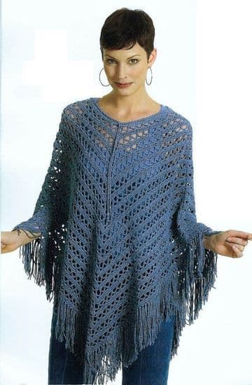 Digital Download PDF ​​​​​​​Vintage Crochet Pattern Ladies Poncho Shawl Pattern, Size: Small/ Medium