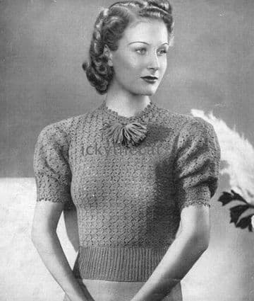Digital Download PDF Vintage Crochet Pattern Ladies Women's 1930s Ladies Women's Sweater Jumper 34''