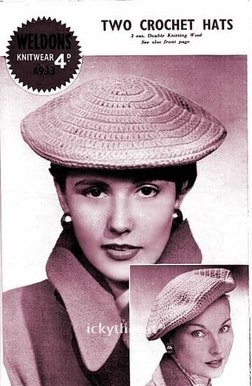 Digital Download PDF Vintage Crochet Pattern Ladies Women's 1950's Chic Beret Hat