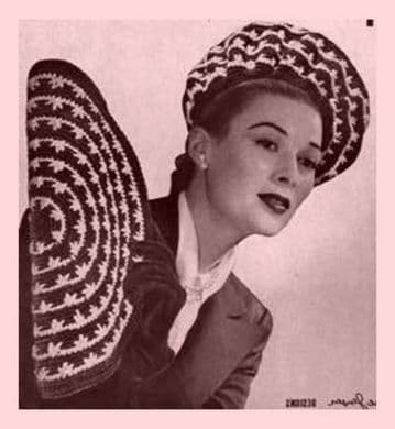 Digital Download PDF ​​​​​​​Vintage Crochet Pattern Ladies Women's Brimmed Swagger Hat 40's