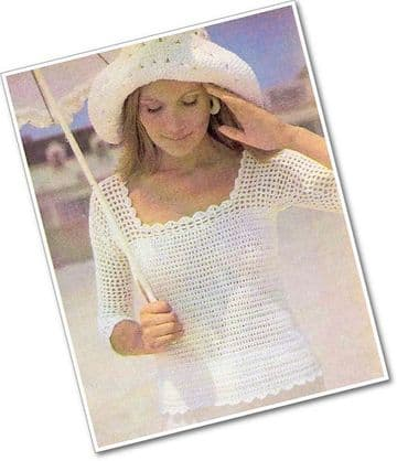 Digital Download PDF Vintage Crochet Pattern Ladies Women's Lacy Summer Top, Square Neckline