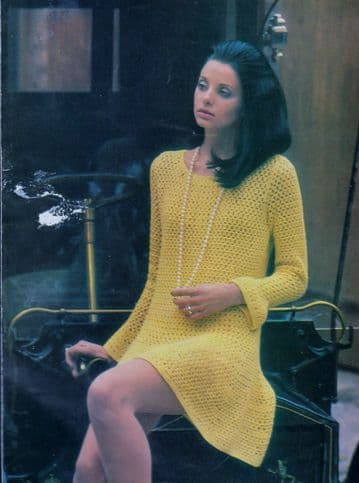 Digital Download PDF Vintage Crochet Pattern Ladies Women's Long Sleeve Mini Dress 34-38'' DK/4 ply