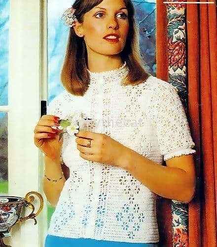 Digital Download PDF Vintage Crochet Pattern Ladies Women's Top/Blouse 32-39'' 3 ply