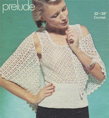 "Digital Download PDF Vintage Crochet Pattern Ladies Women's Top & Shawl 32, 34, 36 & 38"" chest,"