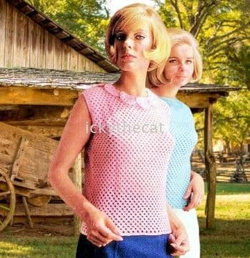 Digital Download PDF Vintage Crochet Pattern Ladies Women's Top with/out Collar Bust 32-39''