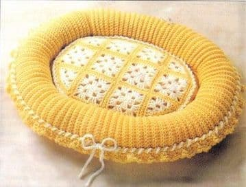 Digital Download PDF Vintage Crochet Pattern Oval Granny Square Pet Bed