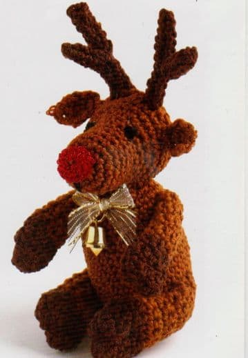 Digital Download PDF Vintage Crochet Pattern Reindeer Stuffed Soft Body Toy Christmas Ornament