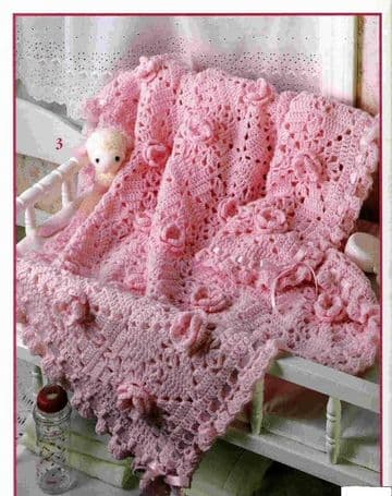 Digital Download PDF Vintage Crochet Pattern ​​​​Rose Granny Square Afghan Blanket Baby Cot Crib Bed