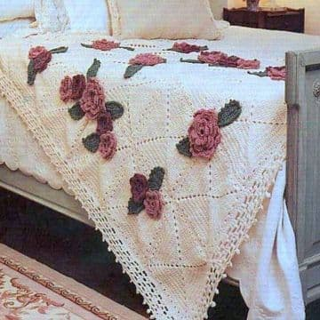Digital Download PDF Vintage Crochet Pattern Roses Afghan Throw Blanket Bedspread