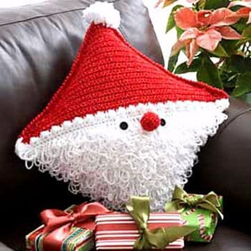 Digital Download PDF Vintage Crochet Pattern Santa Cushion Father Christmas Pillow Holiday Decor