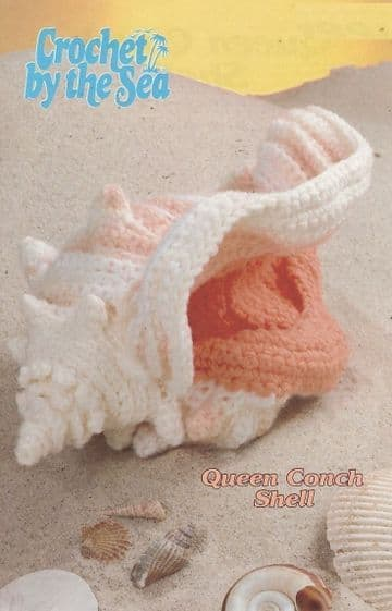 Digital Download PDF Vintage Crochet Pattern Sea Conch Shell Stuffed Plush Soft Toy Ornament