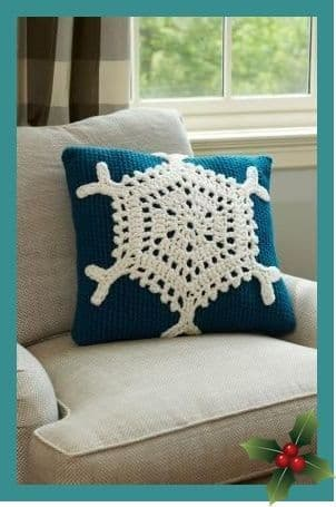 Digital Download PDF Vintage Crochet Pattern Snowflake Cushion/Pillow Christmas 18'' square 6.5 hook
