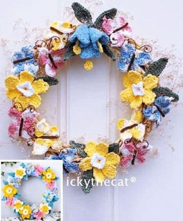 Digital Download PDF Vintage Crochet Pattern Spring Flower Garland Wreath Ornament Decoration