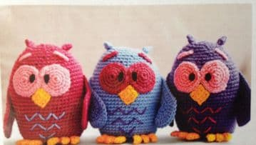 Digital Download PDF Vintage Crochet Pattern Stuffed Soft Body Toy Bird Owl Owls Ornaments Toys
