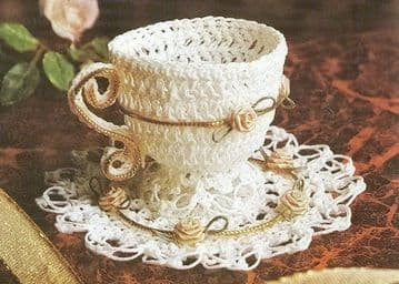 Digital Download PDF Vintage Crochet Pattern Teacup Saucer Stuffed Soft Toy Toys