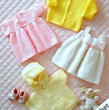 Digital Download PDF Vintage Crochet Pattern ​​​​​Toddler Jacket/Coat, two pretty dresses hooded top