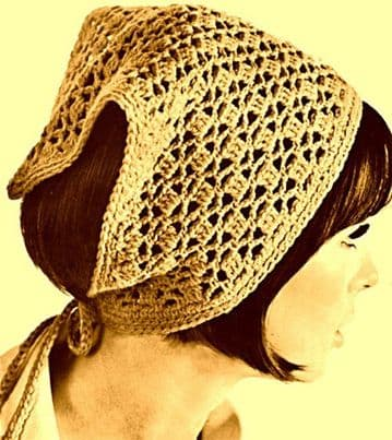 Digital Download PDF Vintage Easy Crochet Pattern Ladies Women's Pretty Lacy Triangular Head Scarf