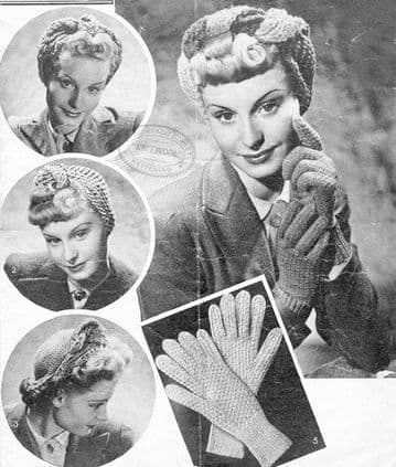 Digital Download PDF Vintage Knitting/Crochet Pattern Ladies Women's 4 Turbans & Knitted Gloves