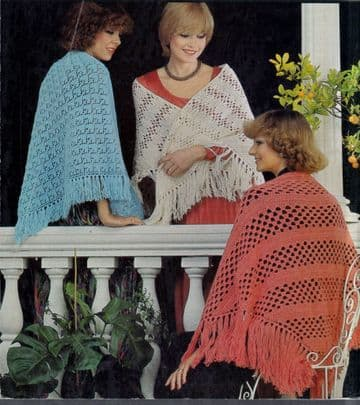 Digital Download PDF Vintage Knitting/Crochet Pattern Ladies Women's Three Ladies Shawls