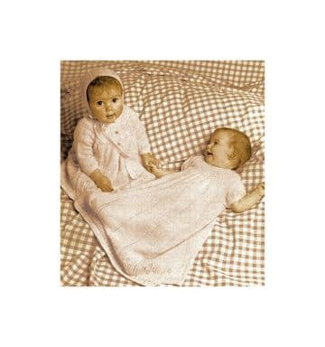 Digital Download PDF Vintage Knitting Pattern Babies Christening Gown Dress Coat Bootees Bonnet
