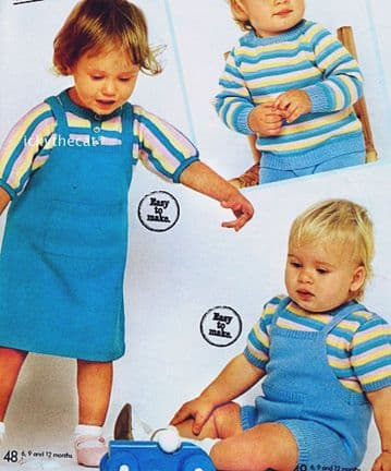 Digital Download PDF Vintage Knitting Pattern Babies Toddlers An EASY Pinafore Dress &  Sweater