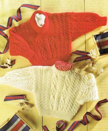 Digital Download PDF Vintage Knitting Pattern Baby Aran Style Cable Sweater Jumper 2 Necklines 16-22