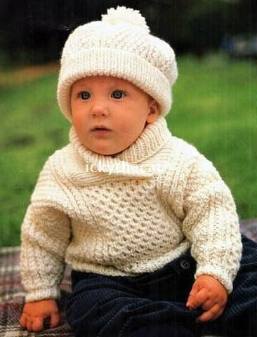 Digital Download PDF Vintage Knitting Pattern Baby Aran Sweater Jumper & Hat 18-24