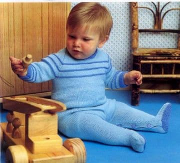 Digital Download PDF Vintage Knitting Pattern Baby Babies All in One 3-12 Months 4 ply