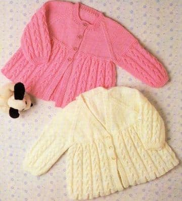 "Digital Download PDF Vintage Knitting Pattern Baby Babies Cable Jackets V/Round Neck 18"" - 20"" 4 Ply"