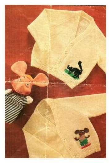 Digital Download PDF Vintage Knitting Pattern Baby Cardigans Jackets Cat/Mouse Motifs 4 ply 20-23""