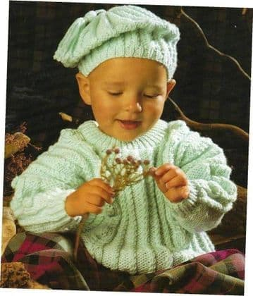 Digital Download PDF Vintage Knitting Pattern Baby Child Aran Cable Sweater & Slouch Beret