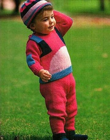 Digital Download PDF Vintage Knitting Pattern Baby Child's Sweater Trousers & Hat DK