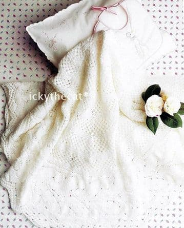 Digital Download PDF Vintage Knitting Pattern Baby Child Shawl/Blanket ​​​​​​​Christening 3 ply