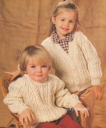Digital Download PDF Vintage Knitting Pattern Baby Childrens Aran Sweater and Cardigan 20-30 inches