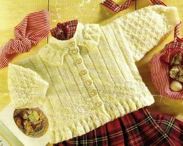 Digital Download PDF Vintage Knitting Pattern Baby Childs ​​​​​​​Aran Style Jacket Frill 0-36