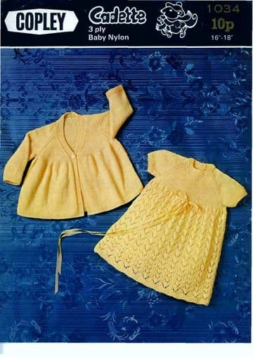 Digital Download PDF Vintage Knitting Pattern Baby Copley1034 Dress & Coat 16-18'' ​​​​​​​3 ply