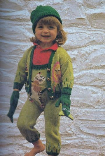 Digital Download PDF Vintage Knitting Pattern Baby Dungarees Cardigan & Mittens 18-22""