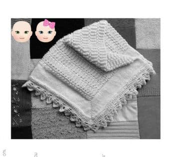 Digital Download PDF Vintage Knitting Pattern Baby Easy Blanket/Afghan Cot Pram Crib 75x75cm 8 ply