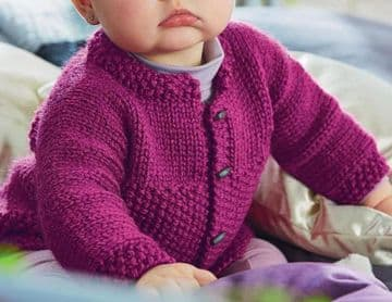 Digital Download PDF Vintage Knitting Pattern Baby Easy Quick One Piece Cardigan 1-12 months
