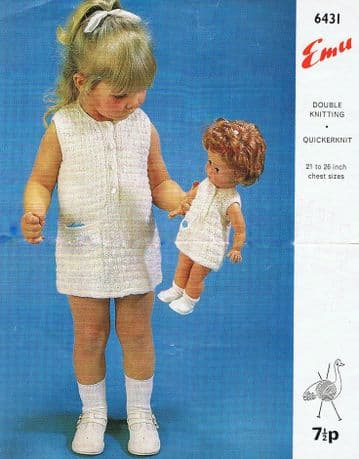 Digital Download PDF Vintage Knitting Pattern Baby Emu 6431 Baby Toddler Dress & Doll Clothes Toy
