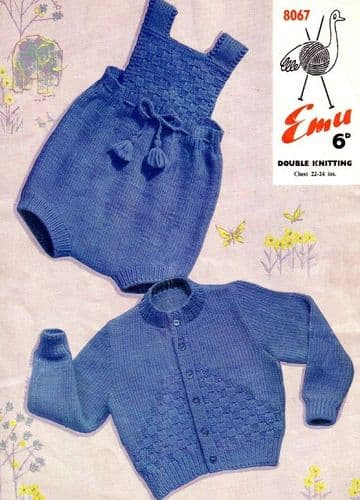 "Digital Download PDF Vintage Knitting Pattern Baby Emu 8067 Baby Cardigan & Romper Set 22""-24"" ​​"