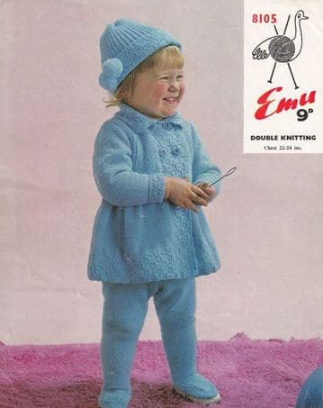 Digital Download PDF Vintage Knitting Pattern Baby Emu 8105 Baby Toddler Set Jacket Leggings Hat DK