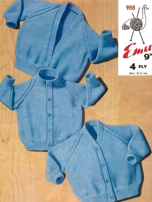 Digital Download PDF Vintage Knitting Pattern Baby Emu 988 Cardigans 3 Necklines 4 ply 20-22''