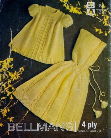 Digital Download PDF Vintage Knitting Pattern Baby Hooded Cape & Dress 18-20""