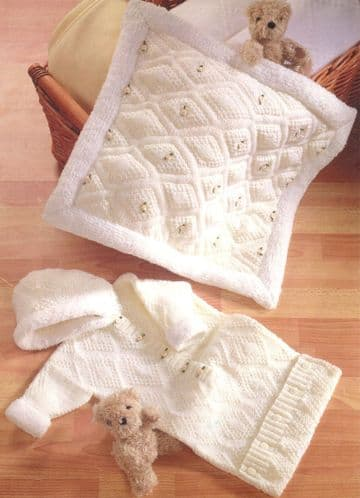 "Digital Download PDF Vintage Knitting Pattern Baby Hooded Sleeping Bag Padded Blanket DK 16"" - 26"""